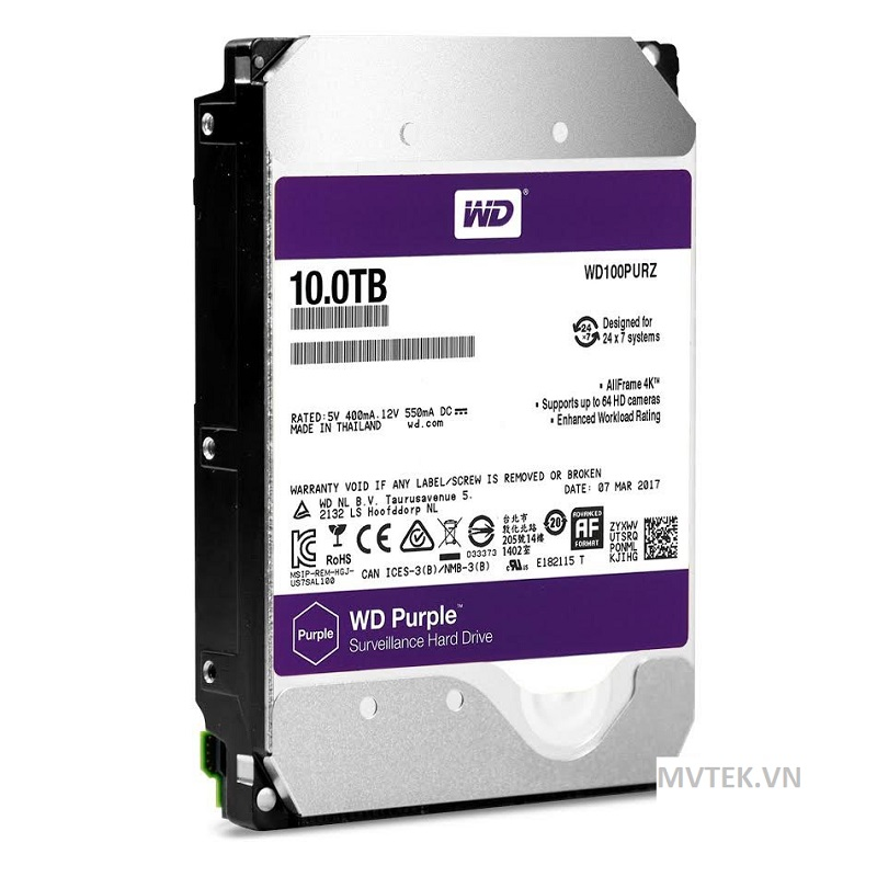 HDD Western Purple 10TB-5400, Sata 3, 64Mb